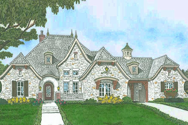 Architectural House Design - European Exterior - Front Elevation Plan #310-1299