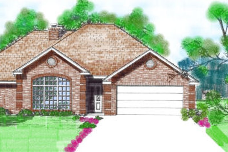 European Style House Plan - 3 Beds 2 Baths 1697 Sq/Ft Plan #52-103 Exterior - Front Elevation