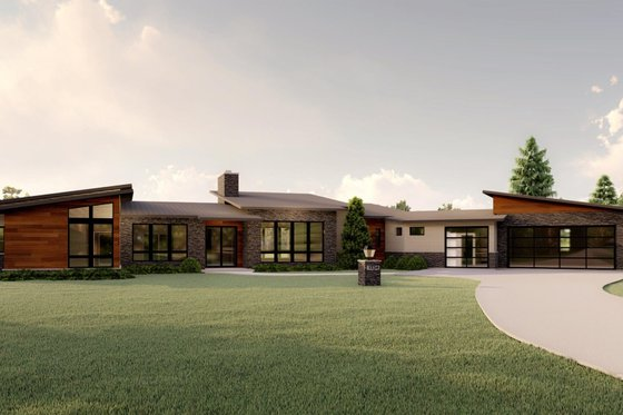 Modern Exterior - Front Elevation Plan #1064-93