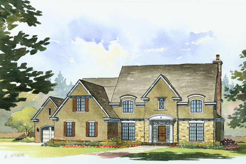 European Style House Plan - 4 Beds 3.5 Baths 3890 Sq/Ft Plan #901-84 Exterior - Front Elevation