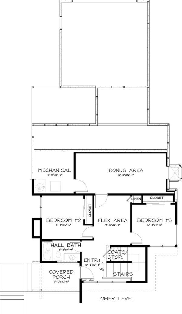 Modern Floor Plan - Lower Floor Plan Plan #895-18