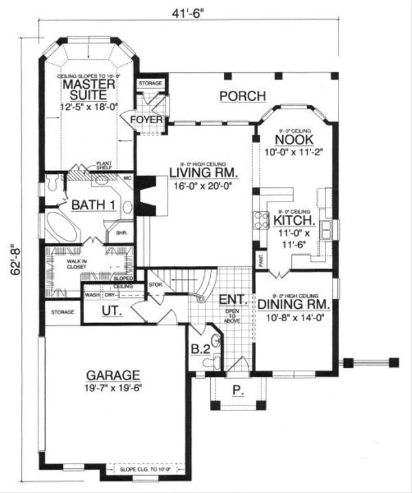 European Floor Plan - Main Floor Plan Plan #40-392