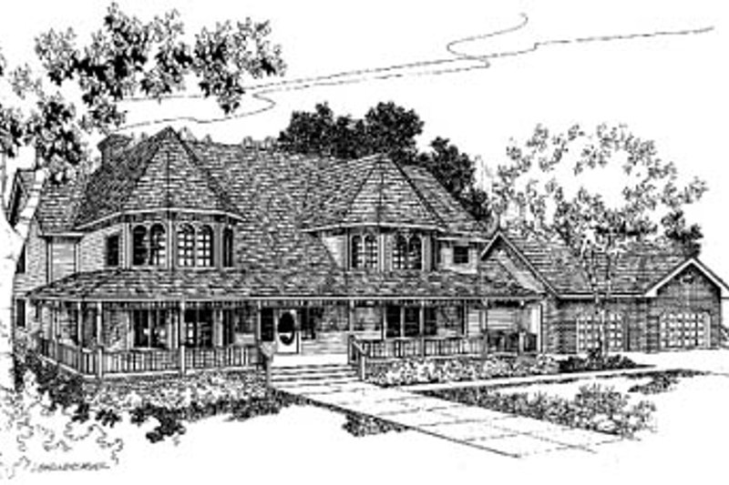 Victorian Exterior - Front Elevation Plan #60-152