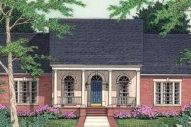 Southern Exterior - Front Elevation Plan #406-190 - Houseplans.com