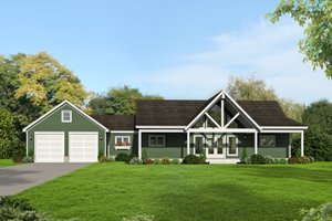 Country Exterior - Front Elevation Plan #932-37