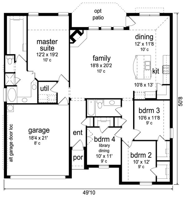 Traditional Floor Plan - Main Floor Plan Plan #84-585