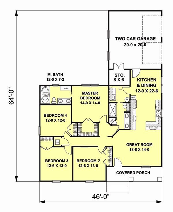 Craftsman Floor Plan - Main Floor Plan Plan #44-179