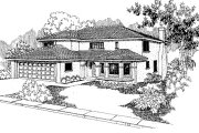 Mediterranean Style House Plan - 3 Beds 3 Baths 2423 Sq/Ft Plan #60-119 Exterior - Front Elevation