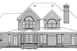 Colonial Exterior - Rear Elevation Plan #929-705