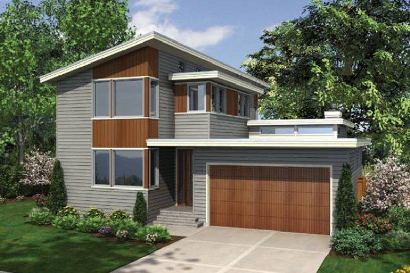 Modern Exterior - Front Elevation Plan #48-525