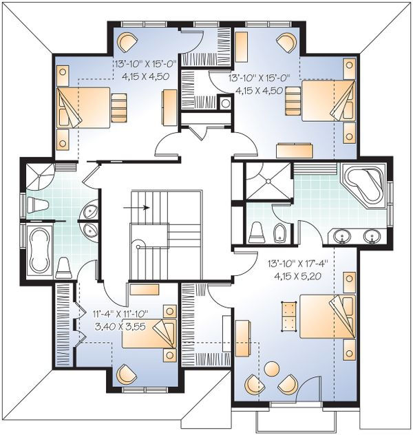Upper Floor Plan - 2600 square foot European home