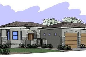Mediterranean Exterior - Front Elevation Plan #24-235