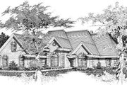 European Style House Plan - 5 Beds 3.5 Baths 3309 Sq/Ft Plan #329-294 Exterior - Front Elevation