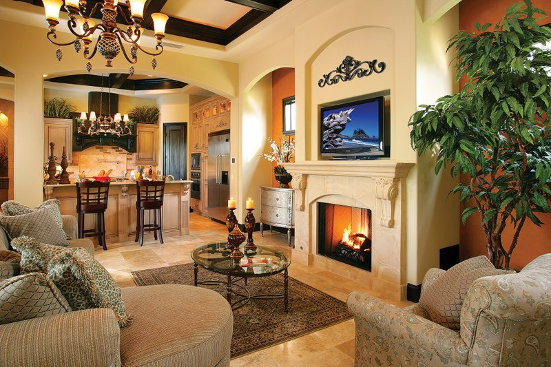 Mediterranean Interior - Family Room Plan #930-22 - Houseplans.com