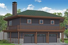 Architectural House Design - Prairie Exterior - Rear Elevation Plan #124-1198