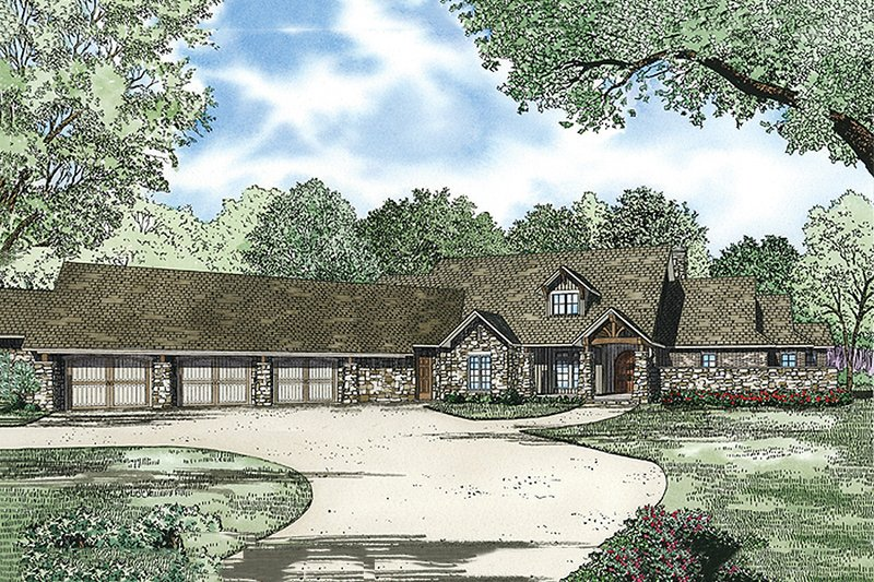 Country Style House Plan - 3 Beds 3.5 Baths 4080 Sq/Ft Plan #17-2386
