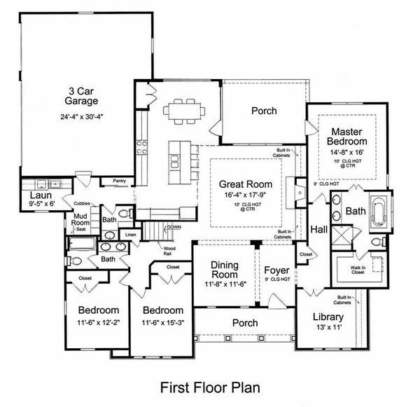 Craftsman Floor Plan - Main Floor Plan Plan #46-527