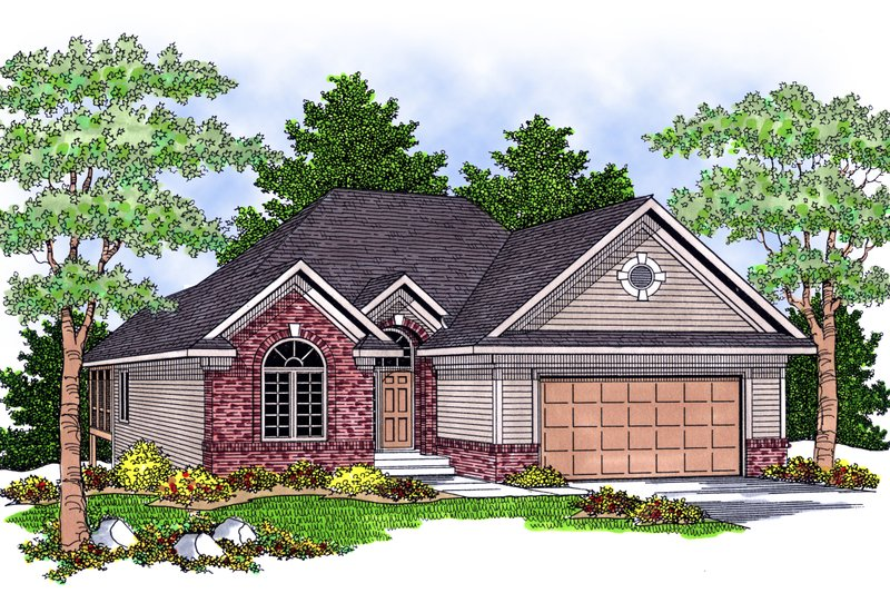 Traditional Exterior - Front Elevation Plan #70-580 - Houseplans.com