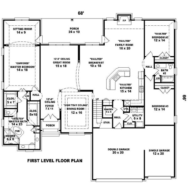 Main level floor plan - 3500 square foot european home