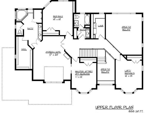 European Floor Plan - Upper Floor Plan Plan #320-488