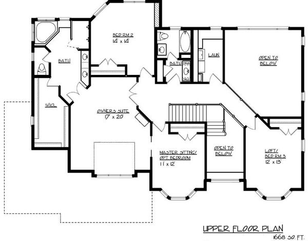 European Floor Plan - Upper Floor Plan #320-488