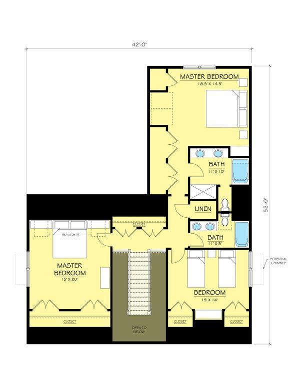 Colonial Floor Plan - Upper Floor Plan Plan #903-2