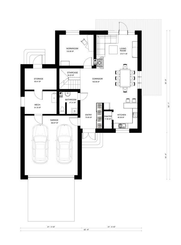 Modern Floor Plan - Main Floor Plan Plan #906-27