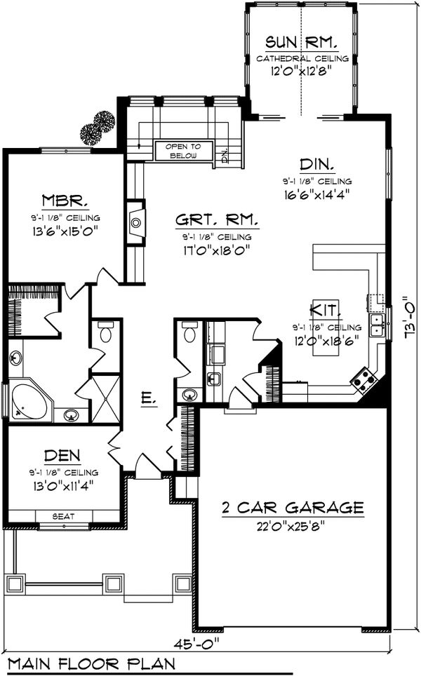 Floor Plan - Main Floor Plan Plan #70-1105