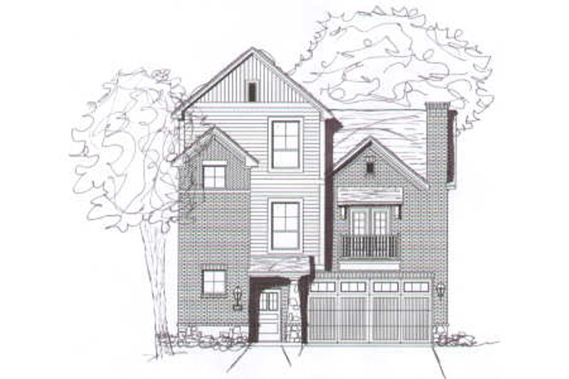 Modern Style House Plan - 2 Beds 2.5 Baths 1507 Sq/Ft Plan #141-262 Exterior - Front Elevation