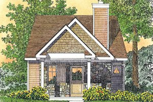 Cottage Exterior - Front Elevation Plan #22-594