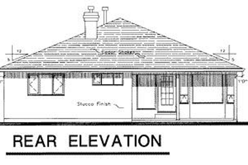 Ranch Exterior - Rear Elevation Plan #18-108 - Houseplans.com