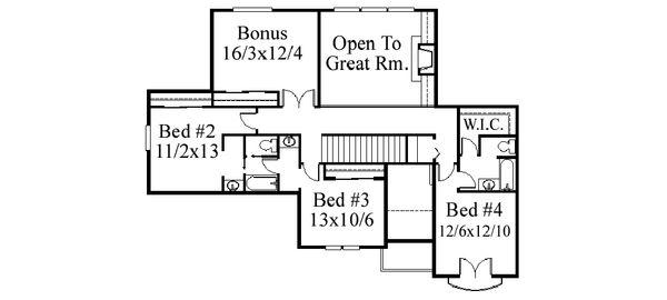 Traditional Floor Plan - Upper Floor Plan Plan #509-72