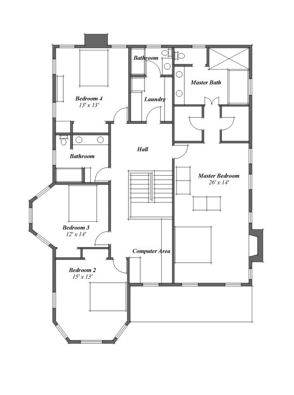 Country Floor Plan - Upper Floor Plan Plan #481-8