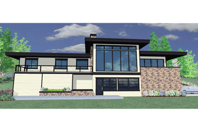 Modern Style House Plan - 3 Beds 2.5 Baths 1850 Sq/Ft Plan #509-17 Exterior - Front Elevation