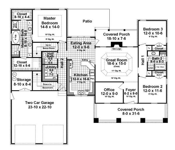 Architectural House Design - Craftsman Floor Plan - Main Floor Plan #21-359