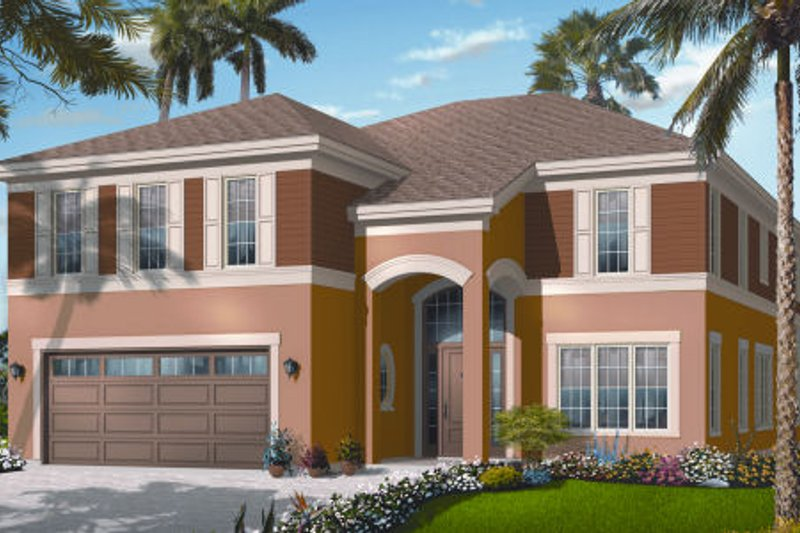 Mediterranean Exterior - Front Elevation Plan #23-2256