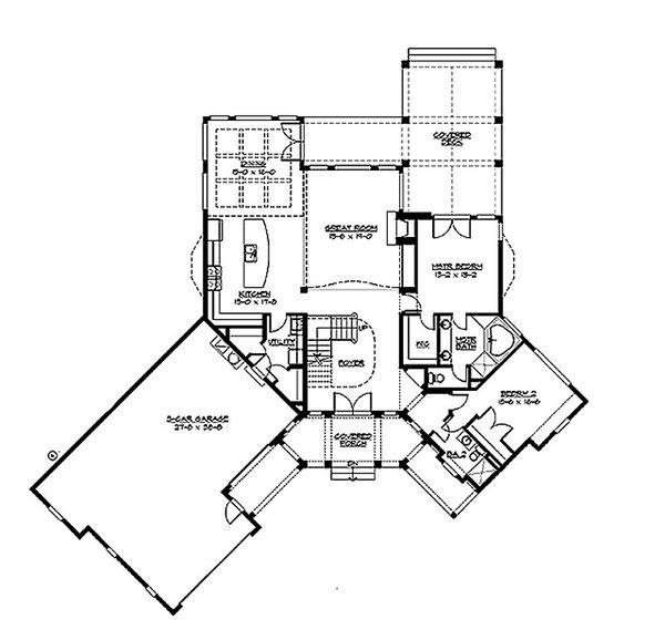 Craftsman Floor Plan - Main Floor Plan Plan #132-211