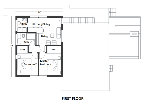 Contemporary Floor Plan - Upper Floor Plan Plan #542-20