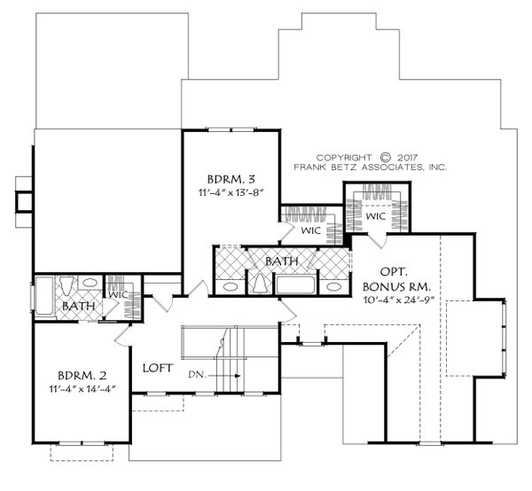 Farmhouse Floor Plan - Upper Floor Plan Plan #927-990