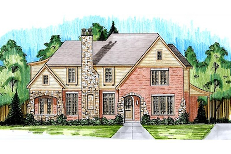 Dream House Plan - European Exterior - Front Elevation Plan #46-486