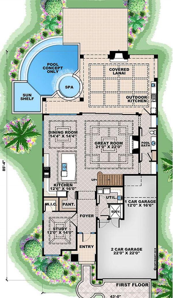 Beach Floor Plan - Main Floor Plan #27-557