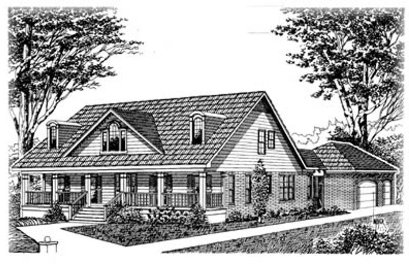 Country Style House Plan - 3 Beds 3.5 Baths 2899 Sq/Ft Plan #15-215 Exterior - Front Elevation