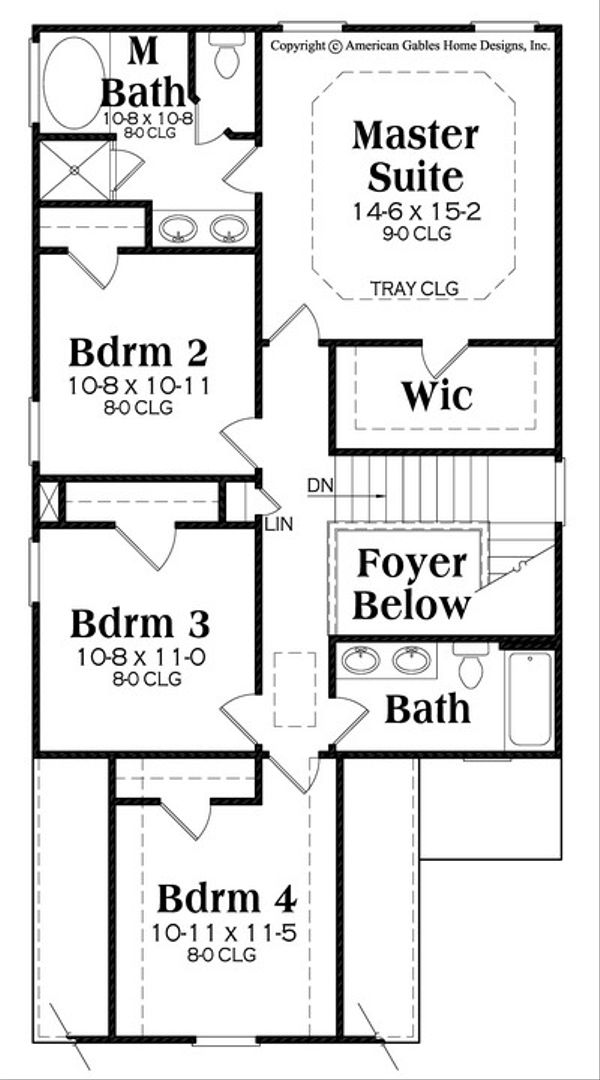 Traditional Floor Plan - Upper Floor Plan Plan #419-280