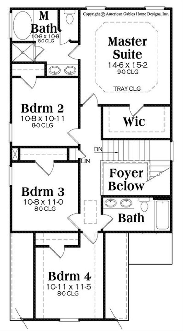Traditional Floor Plan - Upper Floor Plan #419-280