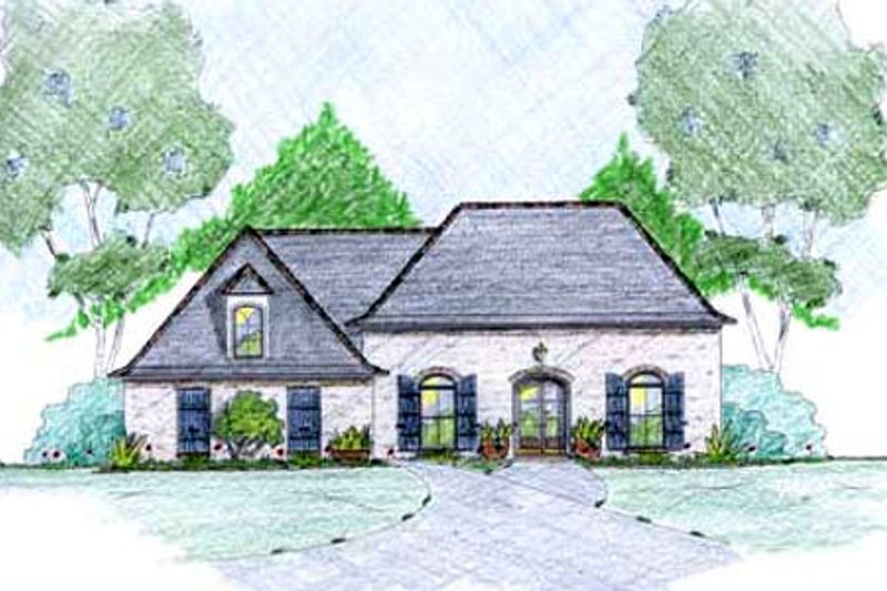 European Exterior - Front Elevation Plan #36-490