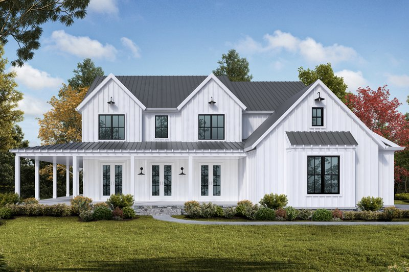 Farmhouse Style House Plan - 5 Beds 4 Baths 3314 Sq/Ft Plan #54-378 Exterior - Front Elevation