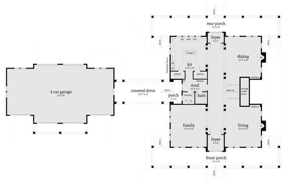 Farmhouse Floor Plan - Main Floor Plan Plan #64-248