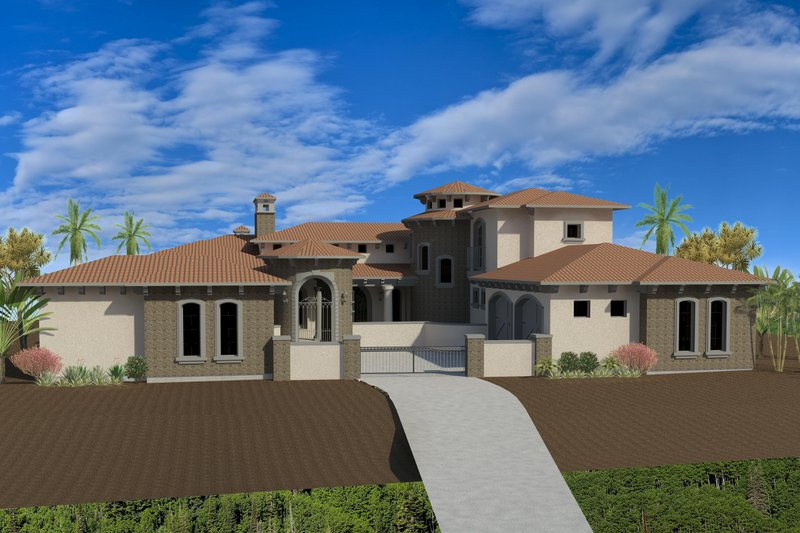 Mediterranean Exterior - Front Elevation Plan #920-66