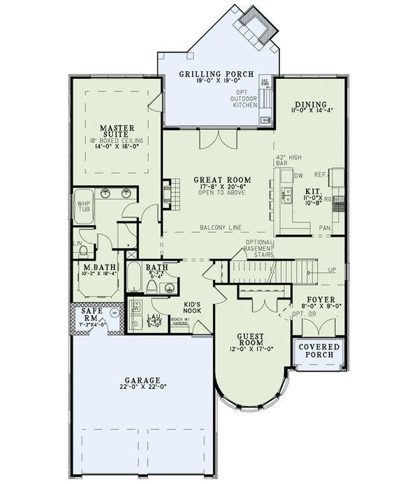 House Plan Design - European Floor Plan - Main Floor Plan #17-2566
