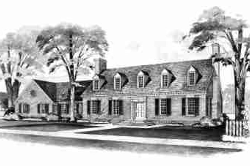 House Blueprint - Colonial Exterior - Front Elevation Plan #72-297